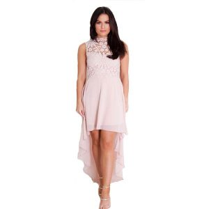 Blush Lace Asymmetric Dress