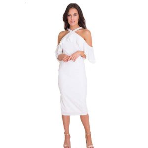 Cold Shoulder Frill Dress White