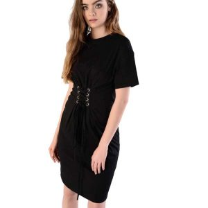 Black T-Shirt Dress with Corset Tie Front