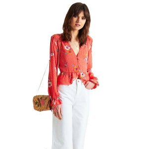 Floral Buttoned Top