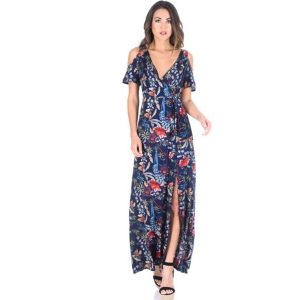 Cold Shoulder Maxi Dress Floral Print