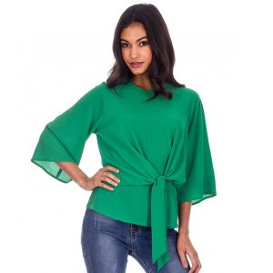 Green front tie ladies top