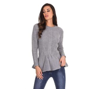 Knit-Frill-Hem-Jumper-Grey-1