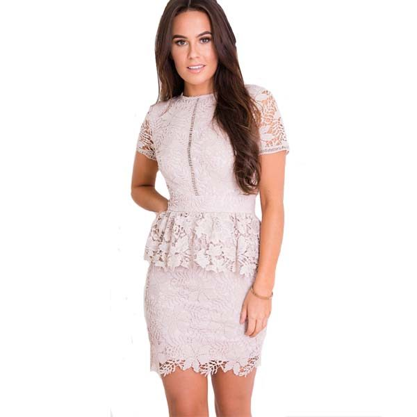 Lace Mini Dress Coffee