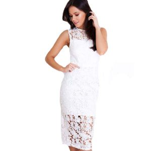 Lace Tie Back Dress White
