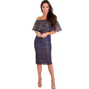 Navy & Gold Shimmer Bardot Dress
