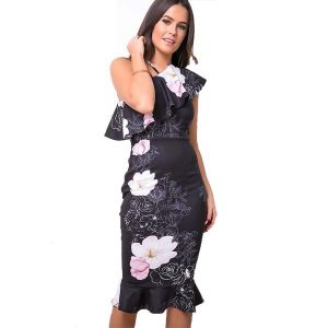 One Shoulder Frill Dress Floral