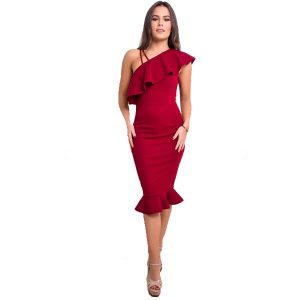 One Shoulder Frill Dress Red