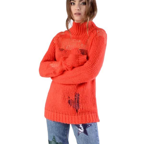 8fb59c5493 Orange Distressed Knit Jumper - Sequin Cinderella