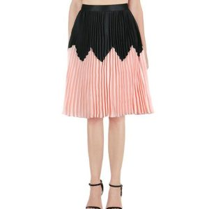 Pleated-Skirt-Black-&-Coral