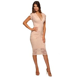 Ruched-Lace-Dress-Beige-2