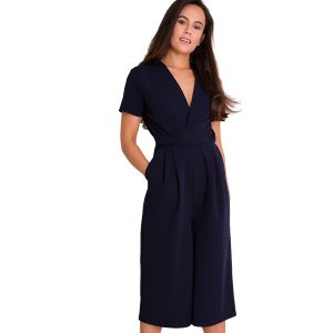 short sleeved navy culotte suit