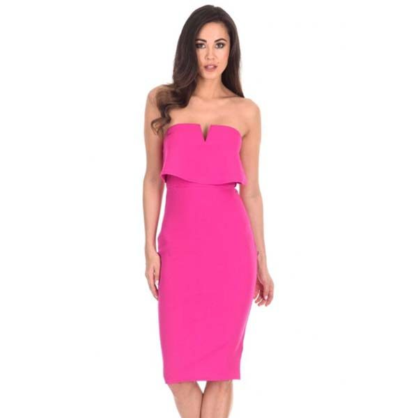 Strapless Bodycon Dress Cerise