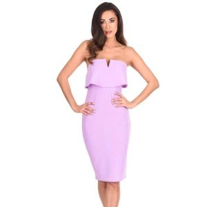 Strapless Bodycon Dress Lilac