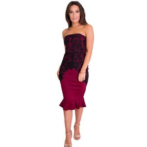 Strapless Lace Fishtail Dress Burgundy