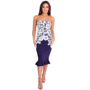 Strapless Lace Fishtail Dress Navy