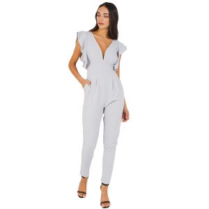Grey-Frill-Sleeve-Jumpsuit