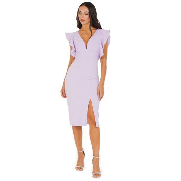 Lilac-Frill-Sleeve-Dress