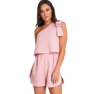 Pink-One-Shoulder-Playsuit-1