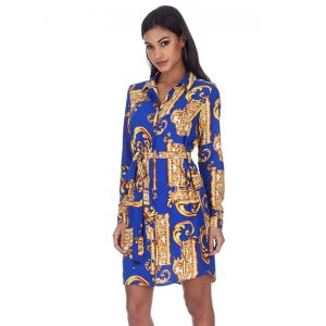 Blue-And-Gold-Print-Shirt-Dress-3
