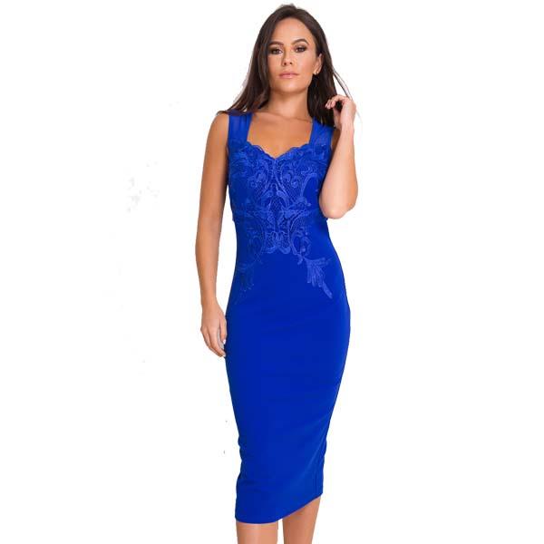 f4ead85e648a7 Blue Lace Detail Midi Dress - Sequin Cinderella