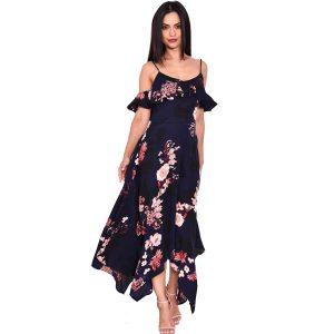 Navy-Floral-Cold-Shoulder-Dress-1