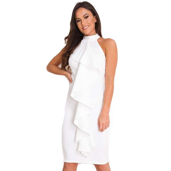 White-Frill-Front-Midi-Dress-1