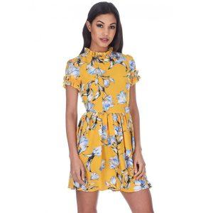 Yellow-Floral-High-Neck-Sun-Dress-1