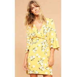 Mustard-Floral-Tea-Dress