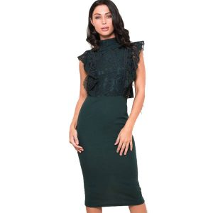 Bottle-Green-Lace-Dress