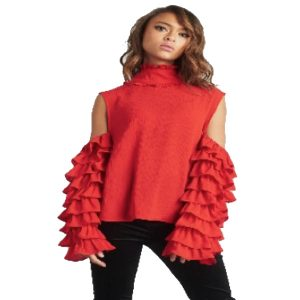 Red-Frill-Sleeve-Cold-Shoulder-Top