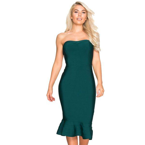 Bottle-Green-Bandage-Dress