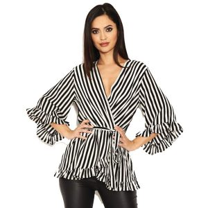 Black And White Stripe Wrap Top