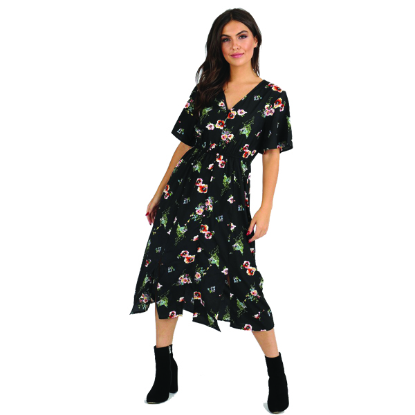 ac3cef58772b5 Black Floral Midi Dress - Sequin Cinderella