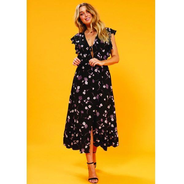 61b7844064 Black Floral Midi Tea Dress - Sequin Cinderella