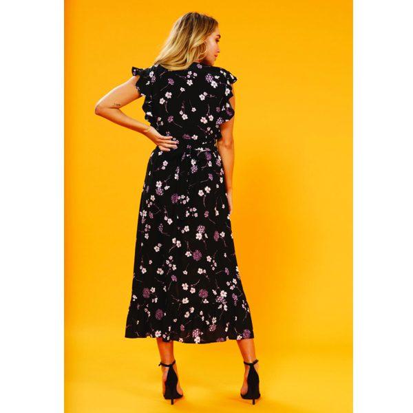Black-Floral-Midi-tea-Dress-4