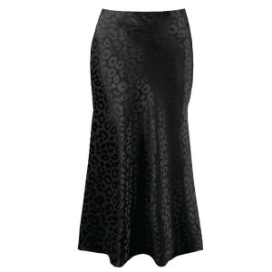 Black Leopard Satin Bias Midi Skirt