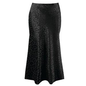 Black Leopard Satin Bias Midi Skirt