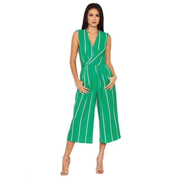 Green Pin Stripe Jumpsuit