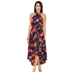 Navy Floral Cut Out Neck Dress