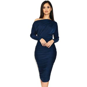 Navy Ruched Boatneck Dress