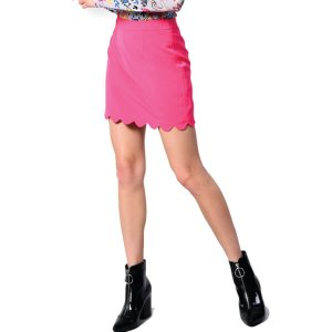Pink Scalloped mini Skirt