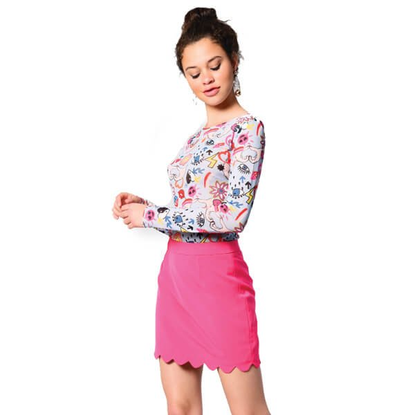 pink scalloped mini skirt