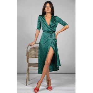 Dancing Leopard Yondal Dress Small Green Leopard