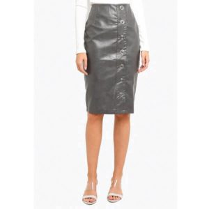 Grey-PU-Button-Front-Skirt-1
