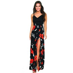 Black and Coral Floral 2in1 Dress