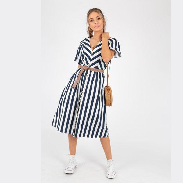 0c86b37723c1 Blue and White Stripe Summer Dress - Sequin Cinderella