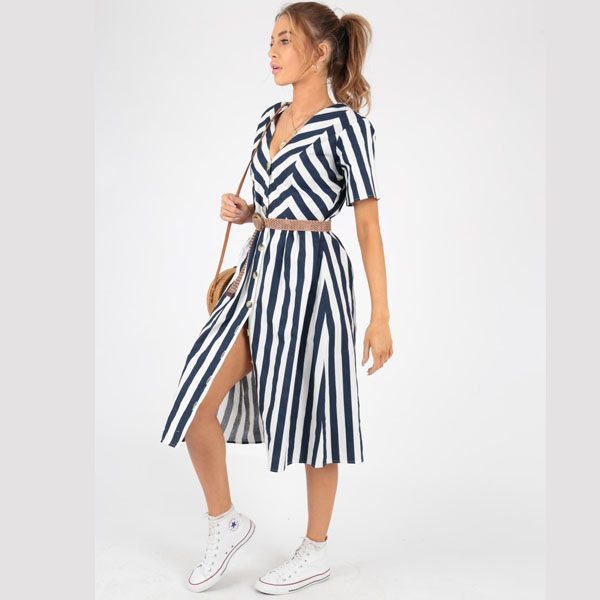 Blue and White Stripe Summer Dress