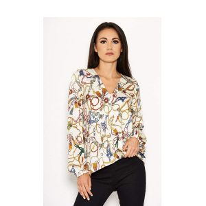 Cream Chain Print Top