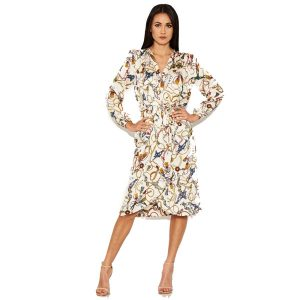 Cream Chain Print Shirt Dress